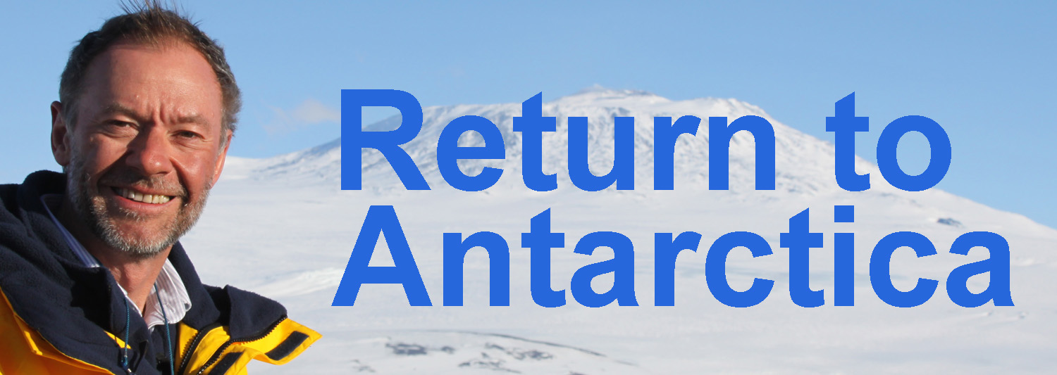 Adrian next to text Return to Antarctica